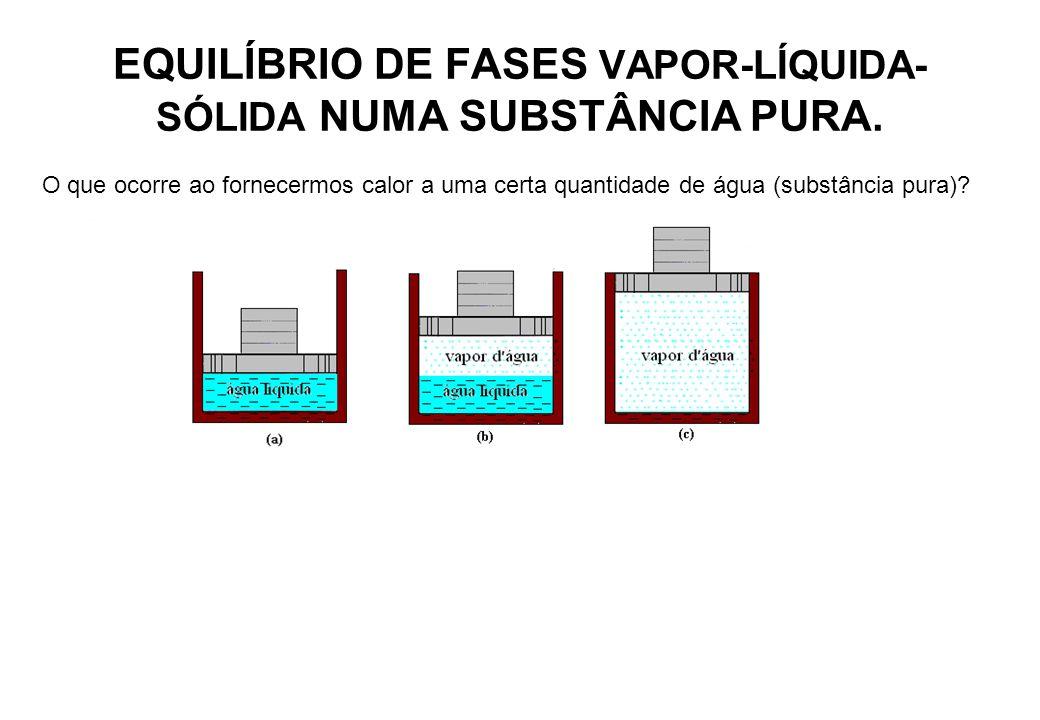 EQUILÍBRIO DE FASES VAPOR-LÍQUIDA- SÓLIDA NUMA SUBSTÂNCIA PURA. O que ocorre ao fornecermos calor a uma certa quantidade de água (substância pura)?