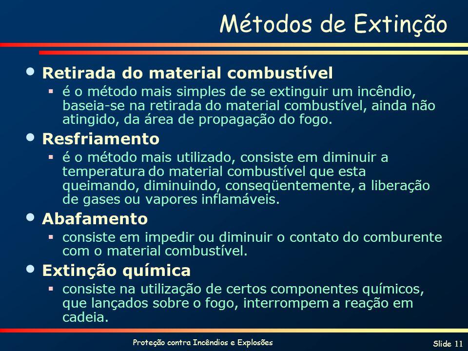 Proteção contra Incêndios e Explosões Slide 11 Métodos de Extinção Retirada do material combustível é o método mais simples de se extinguir um incêndio, baseia-se na retirada do material combustível, ainda não atingido, da área de propagação do fogo.