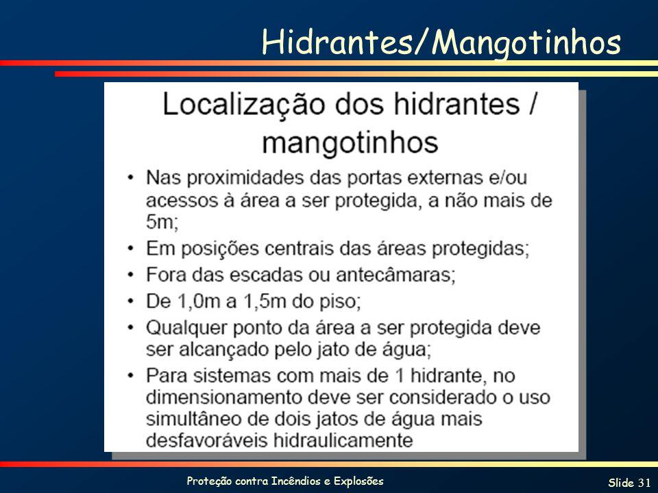 Proteção contra Incêndios e Explosões Slide 31 Hidrantes/Mangotinhos