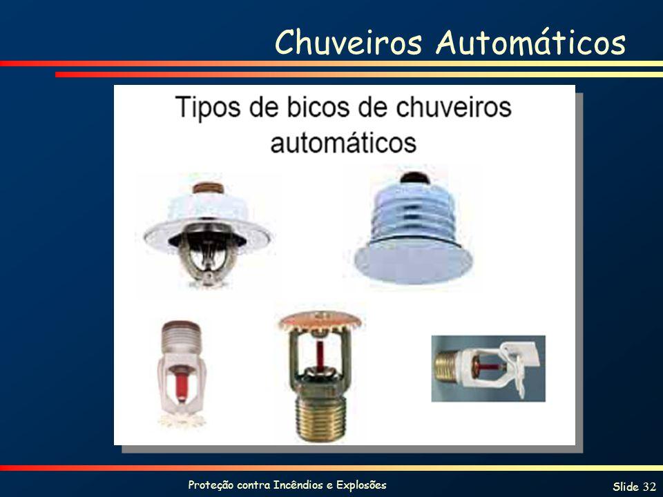 Proteção contra Incêndios e Explosões Slide 32 Chuveiros Automáticos