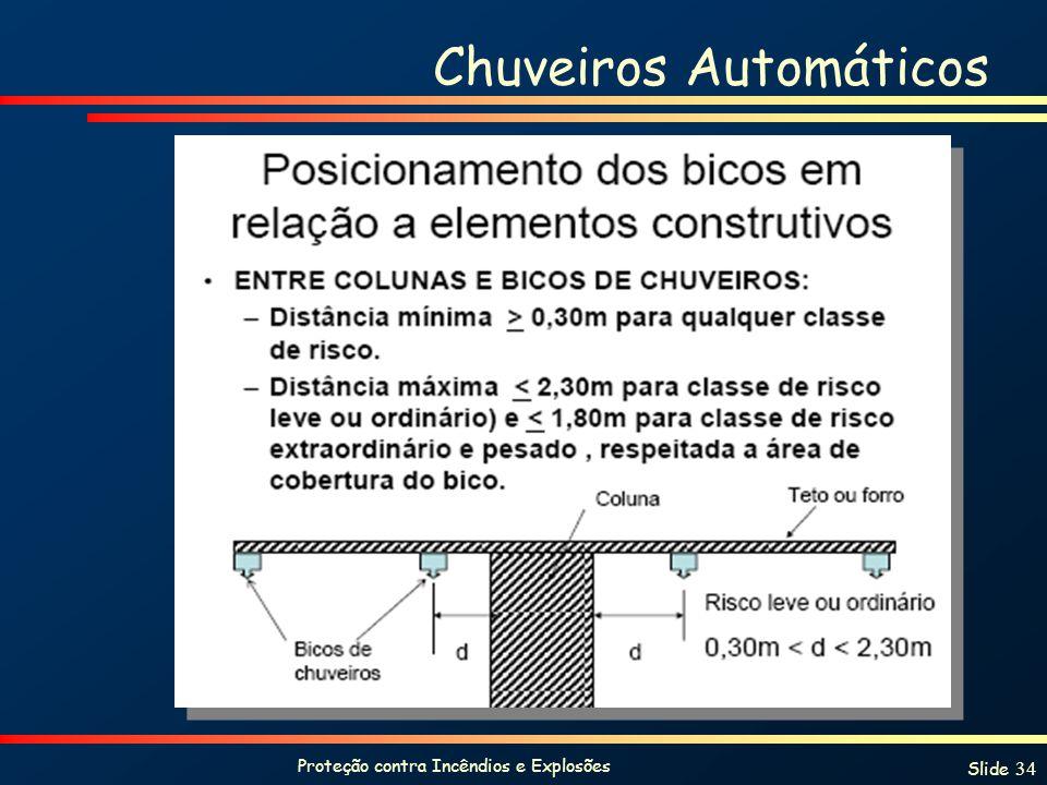 Proteção contra Incêndios e Explosões Slide 34 Chuveiros Automáticos