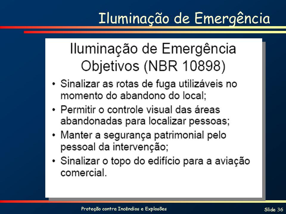Proteção contra Incêndios e Explosões Slide 36 Iluminação de Emergência