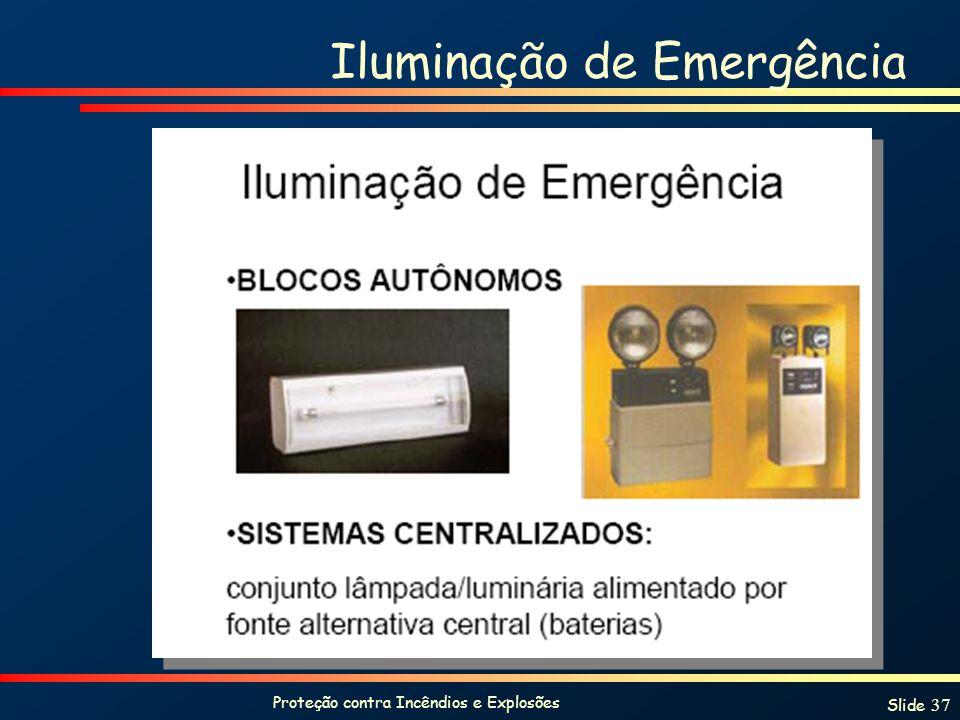 Proteção contra Incêndios e Explosões Slide 37 Iluminação de Emergência