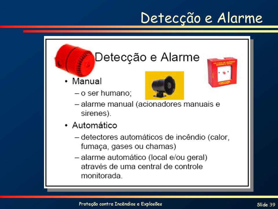 Proteção contra Incêndios e Explosões Slide 39 Detecção e Alarme