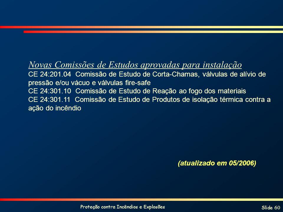 Proteção contra Incêndios e Explosões Slide 60 Novas Comissões de Estudos aprovadas para instalação CE 24:201.04 Comissão de Estudo de Corta-Chamas, v