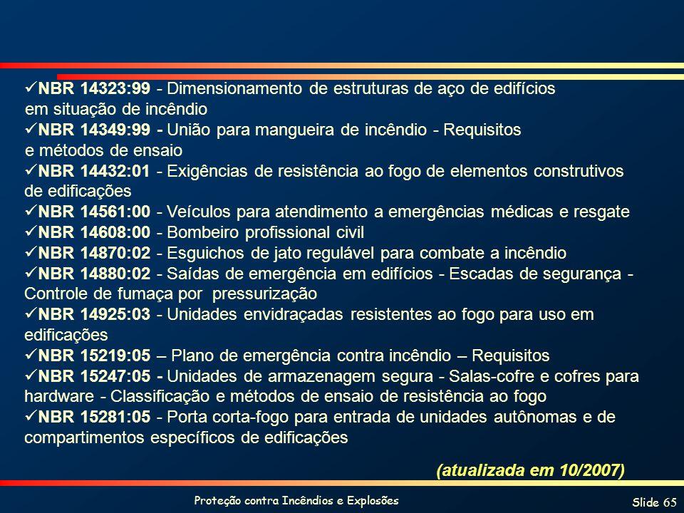 Proteção contra Incêndios e Explosões Slide 65 NBR 14323:99 - Dimensionamento de estruturas de aço de edifícios em situação de incêndio NBR 14349:99 - União para mangueira de incêndio - Requisitos e métodos de ensaio NBR 14432:01 - Exigências de resistência ao fogo de elementos construtivos de edificações NBR 14561:00 - Veículos para atendimento a emergências médicas e resgate NBR 14608:00 - Bombeiro profissional civil NBR 14870:02 - Esguichos de jato regulável para combate a incêndio NBR 14880:02 - Saídas de emergência em edifícios - Escadas de segurança - Controle de fumaça por pressurização NBR 14925:03 - Unidades envidraçadas resistentes ao fogo para uso em edificações NBR 15219:05 – Plano de emergência contra incêndio – Requisitos NBR 15247:05 - Unidades de armazenagem segura - Salas-cofre e cofres para hardware - Classificação e métodos de ensaio de resistência ao fogo NBR 15281:05 - Porta corta-fogo para entrada de unidades autônomas e de compartimentos específicos de edificações (atualizada em 10/2007)