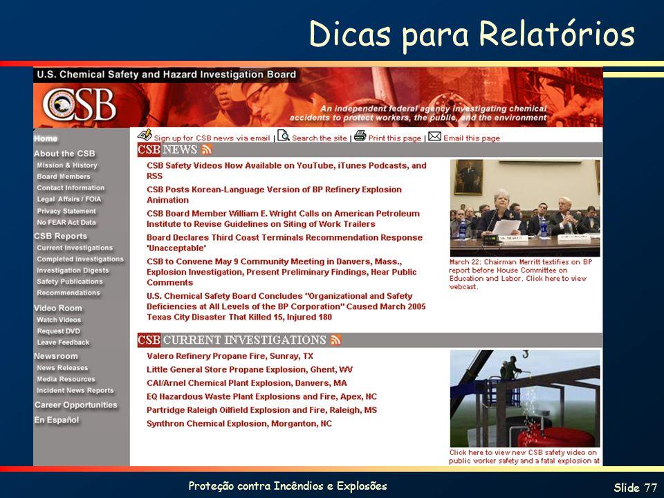 Proteção contra Incêndios e Explosões Slide 77 Dicas para Relatórios