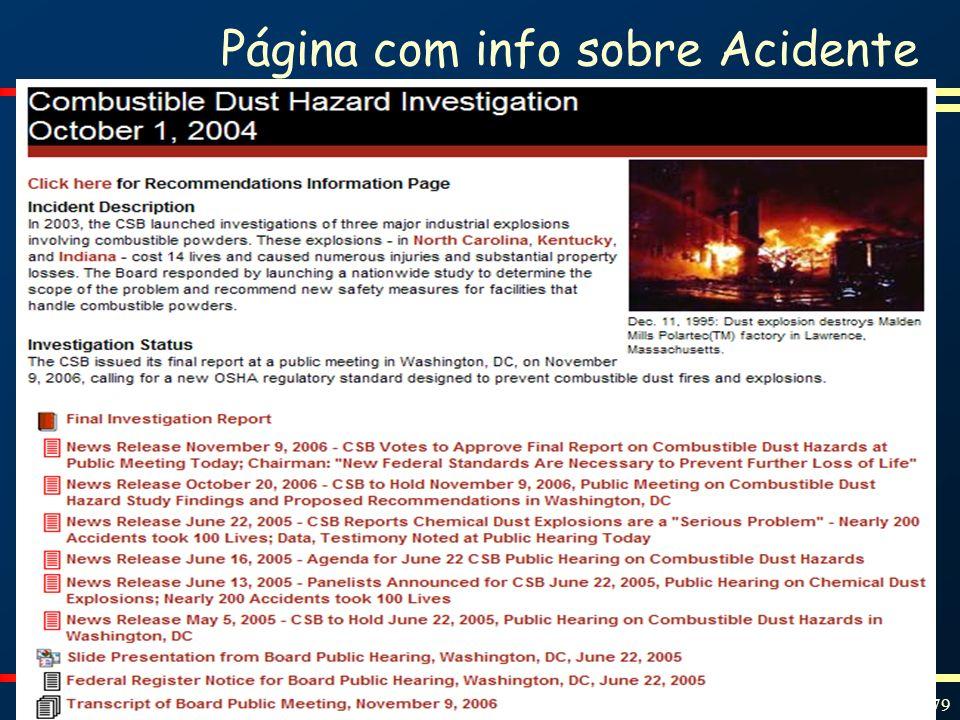 Proteção contra Incêndios e Explosões Slide 79 Página com info sobre Acidente