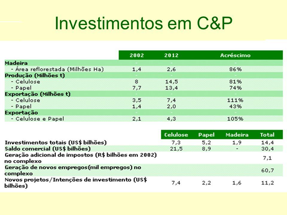 Programa de investimento Setor de Celulose e Papel 2003 - 2012 Investimentos em C&P