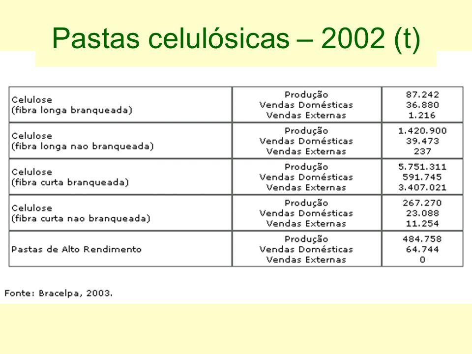 Pastas celulósicas – 2002 (t)
