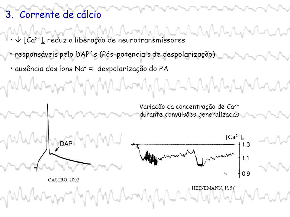3. Corrente de cálcio ausência dos íons Na + despolarização do PA Variação da concentração de Ca 2+ durante convulsões generalizadas [Ca 2+ ] o HEINEM