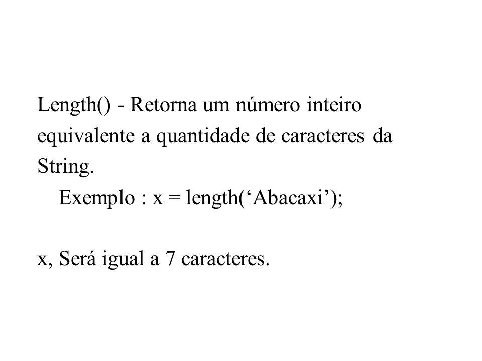 Length() - Retorna um número inteiro equivalente a quantidade de caracteres da String. Exemplo : x = length(Abacaxi); x, Será igual a 7 caracteres.