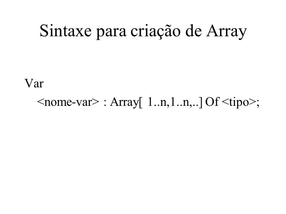 Sintaxe para criação de Array Var : Array[ 1..n,1..n,..] Of ;
