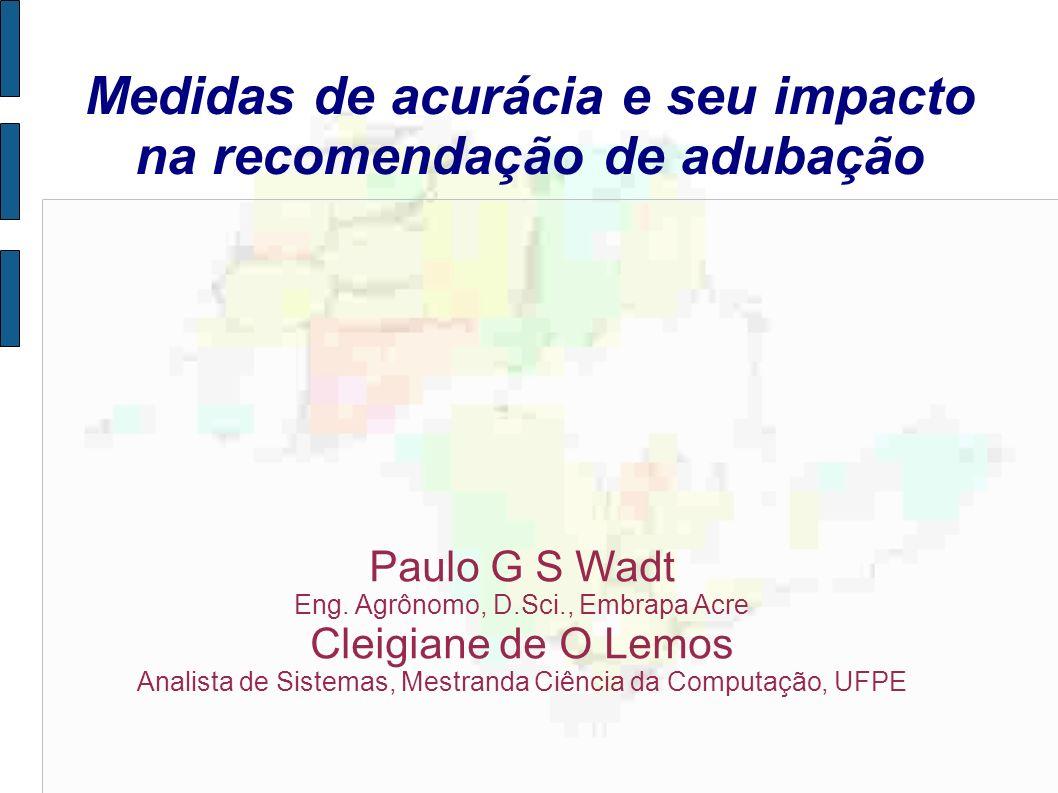 Medidas de acurácia e seu impacto na recomendação de adubação Paulo G S Wadt Eng. Agrônomo, D.Sci., Embrapa Acre Cleigiane de O Lemos Analista de Sist