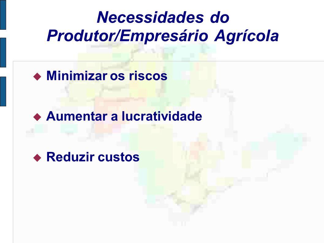 Necessidades do Produtor/Empresário Agrícola Minimizar os riscos Aumentar a lucratividade Reduzir custos