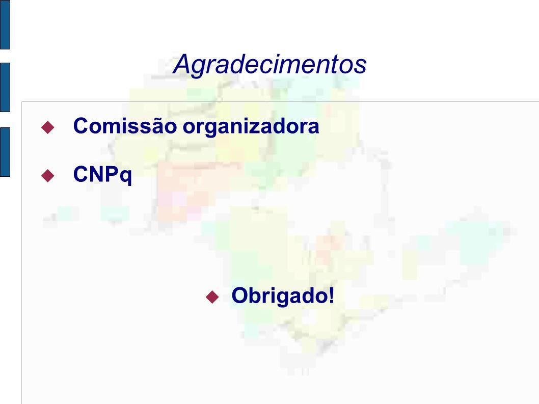 Agradecimentos Comissão organizadora CNPq Obrigado!