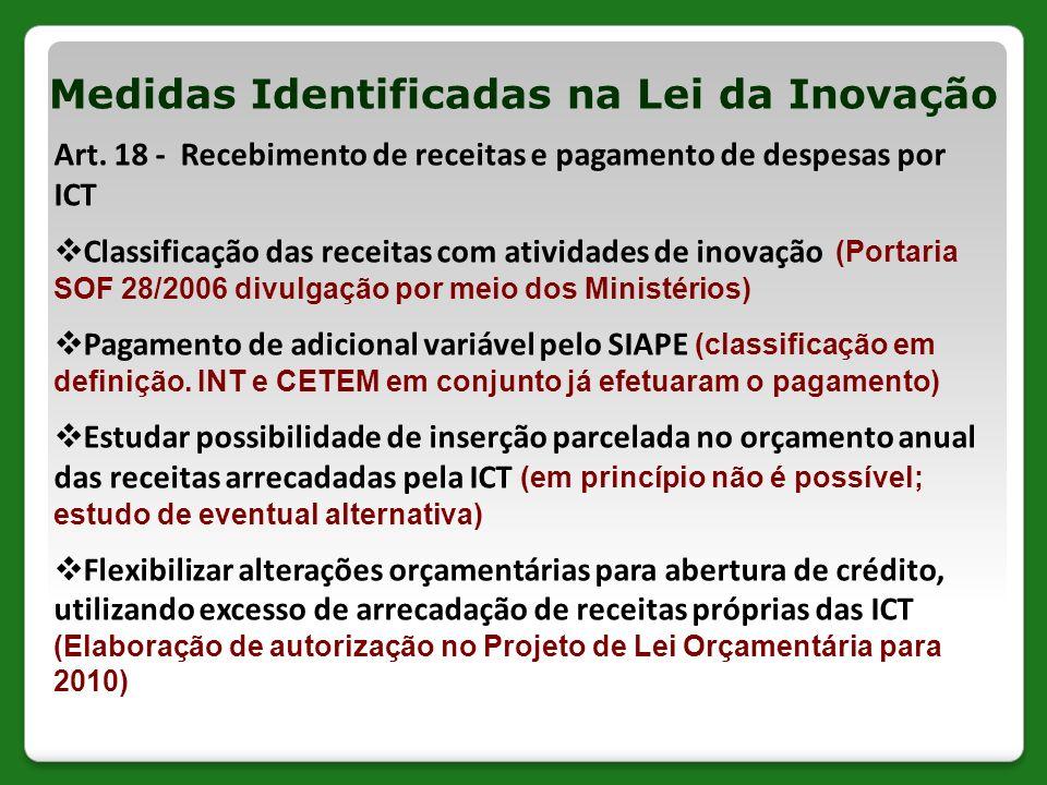 Art. 18 - Recebimento de receitas e pagamento de despesas por ICT Classificação das receitas com atividades de inovação (Portaria SOF 28/2006 divulgaç