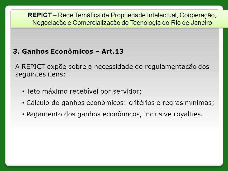 3. Ganhos Econômicos – Art.13 A REPICT expõe sobre a necessidade de regulamentação dos seguintes itens: Teto máximo recebível por servidor; Cálculo de