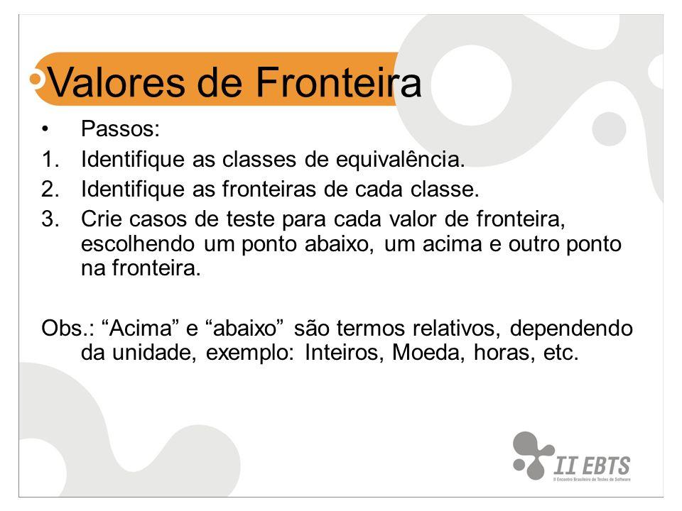 Valores de Fronteira Passos: 1.Identifique as classes de equivalência. 2.Identifique as fronteiras de cada classe. 3.Crie casos de teste para cada val