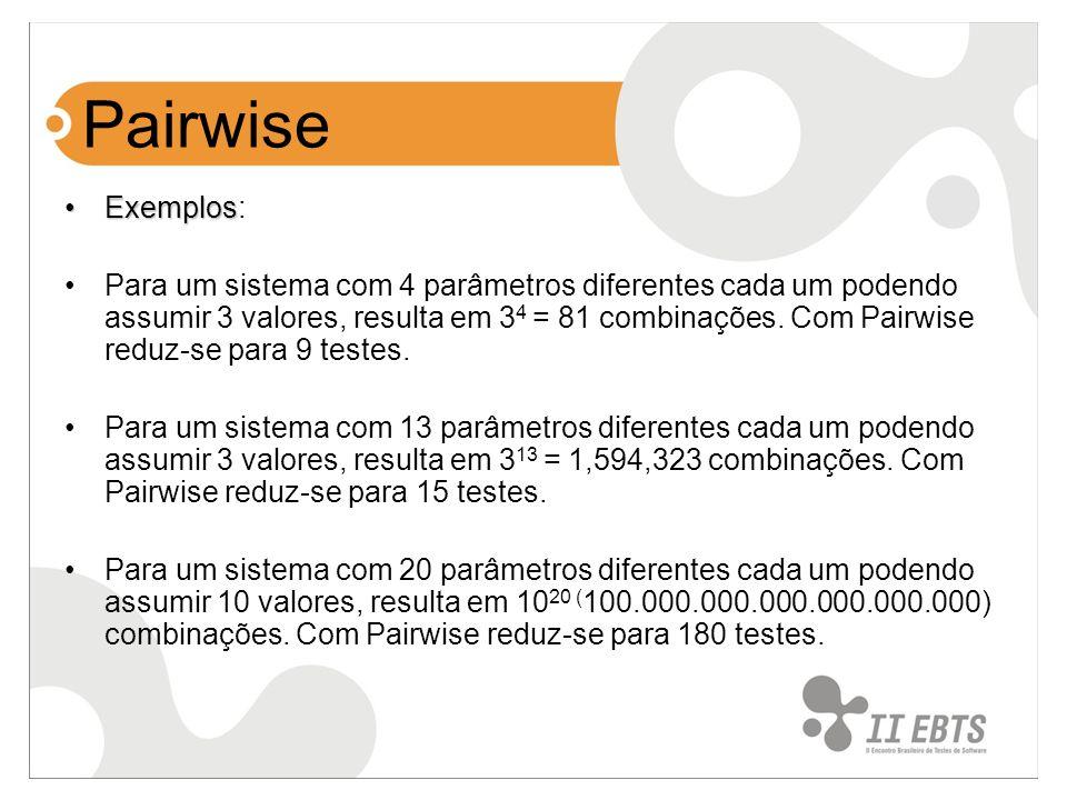 Pairwise ExemplosExemplos: Para um sistema com 4 parâmetros diferentes cada um podendo assumir 3 valores, resulta em 3 4 = 81 combinações. Com Pairwis