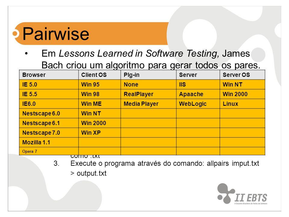 Pairwise Em Lessons Learned in Software Testing, James Bach criou um algoritmo para gerar todos os pares. Baseado no algoritmo, escreveu um programa c