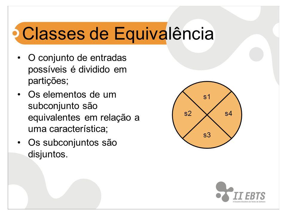 Classes de Equivalência O conjunto de entradas possíveis é dividido em partições; Os elementos de um subconjunto são equivalentes em relação a uma car
