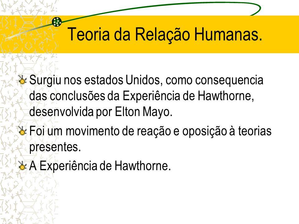 Teoria da Relação Humanas. Surgiu nos estados Unidos, como consequencia das conclusões da Experiência de Hawthorne, desenvolvida por Elton Mayo. Foi u