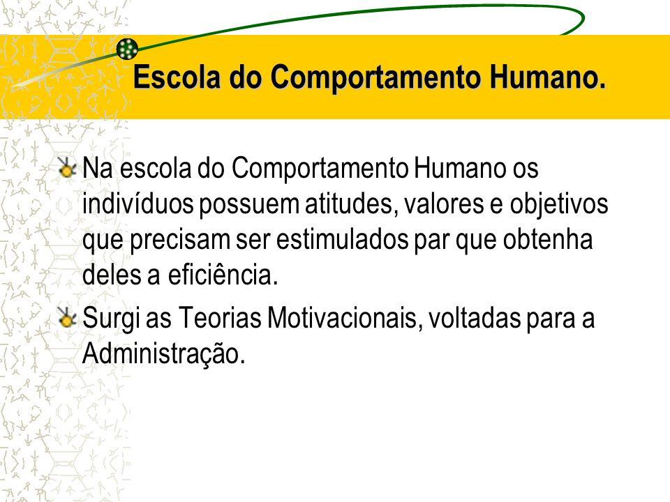 Escola do Comportamento Humano. Na escola do Comportamento Humano os indivíduos possuem atitudes, valores e objetivos que precisam ser estimulados par