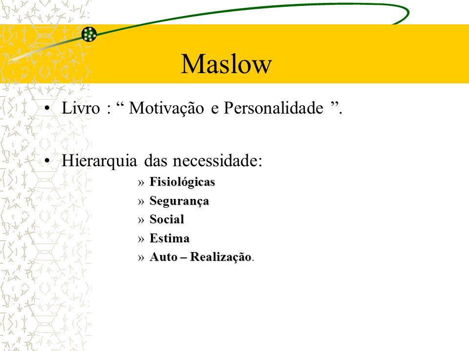 Maslow Livro : Motivação e Personalidade. Hierarquia das necessidade: »Fisiológicas »Segurança »Social »Estima »Auto – Realização »Auto – Realização.