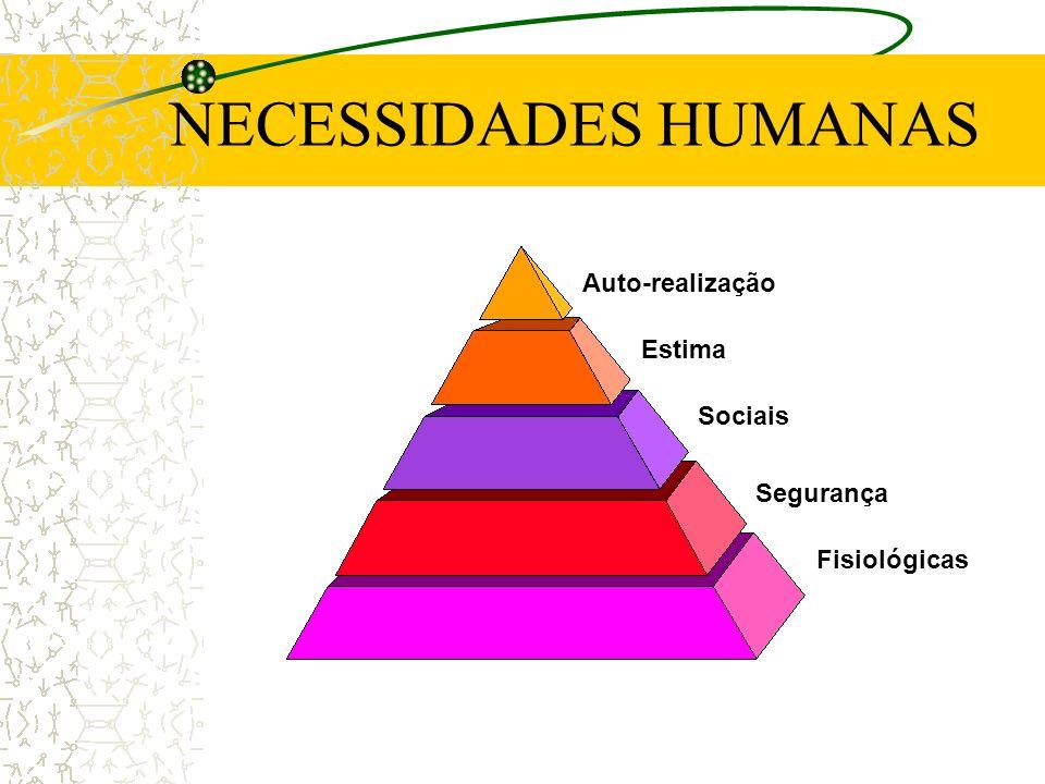 NECESSIDADES HUMANAS Fisiológicas Segurança Sociais Estima Auto-realização