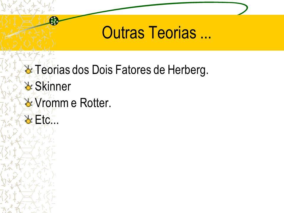 Outras Teorias... Teorias dos Dois Fatores de Herberg. Skinner Vromm e Rotter. Etc...