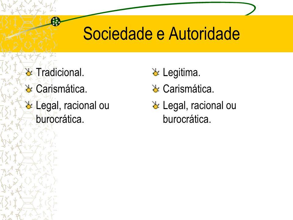 Sociedade e Autoridade Tradicional. Carismática. Legal, racional ou burocrática. Legitima. Carismática. Legal, racional ou burocrática.