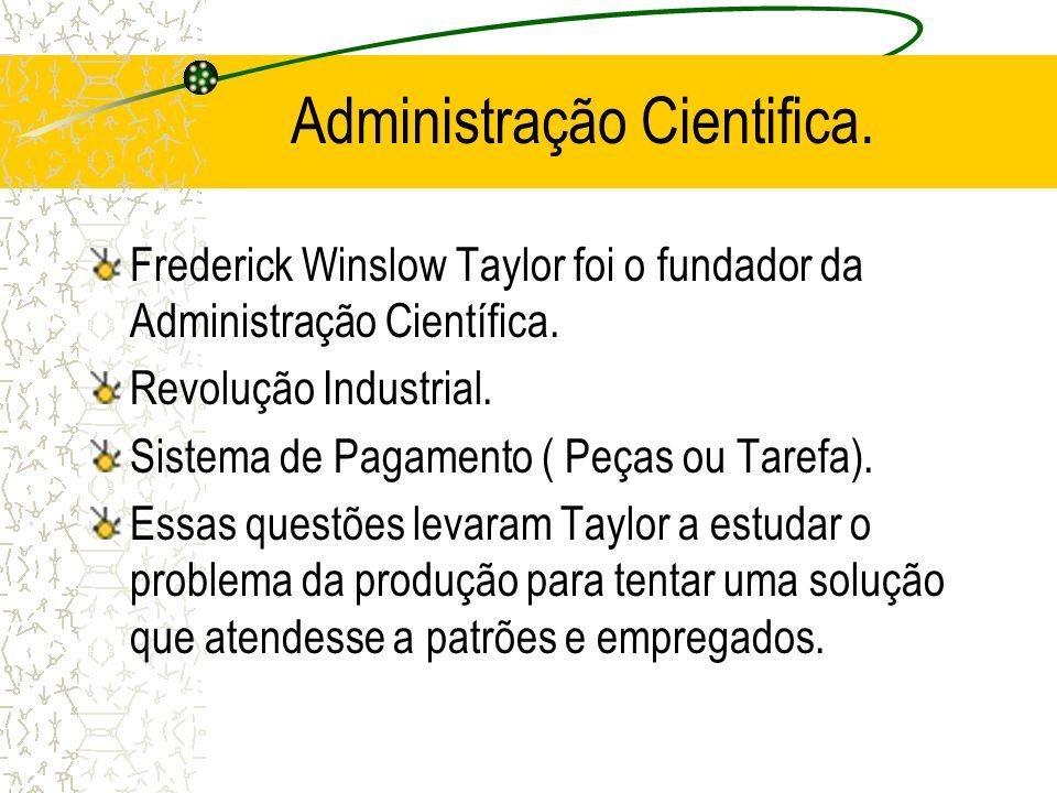 Administração Cientifica. Frederick Winslow Taylor foi o fundador da Administração Científica. Revolução Industrial. Sistema de Pagamento ( Peças ou T