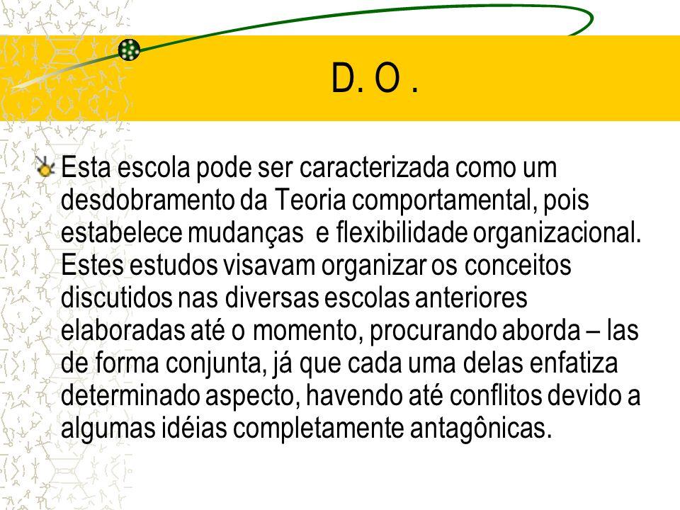D. O. Esta escola pode ser caracterizada como um desdobramento da Teoria comportamental, pois estabelece mudanças e flexibilidade organizacional. Este