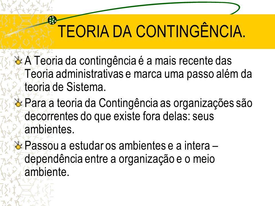 TEORIA DA CONTINGÊNCIA. A Teoria da contingência é a mais recente das Teoria administrativas e marca uma passo além da teoria de Sistema. Para a teori