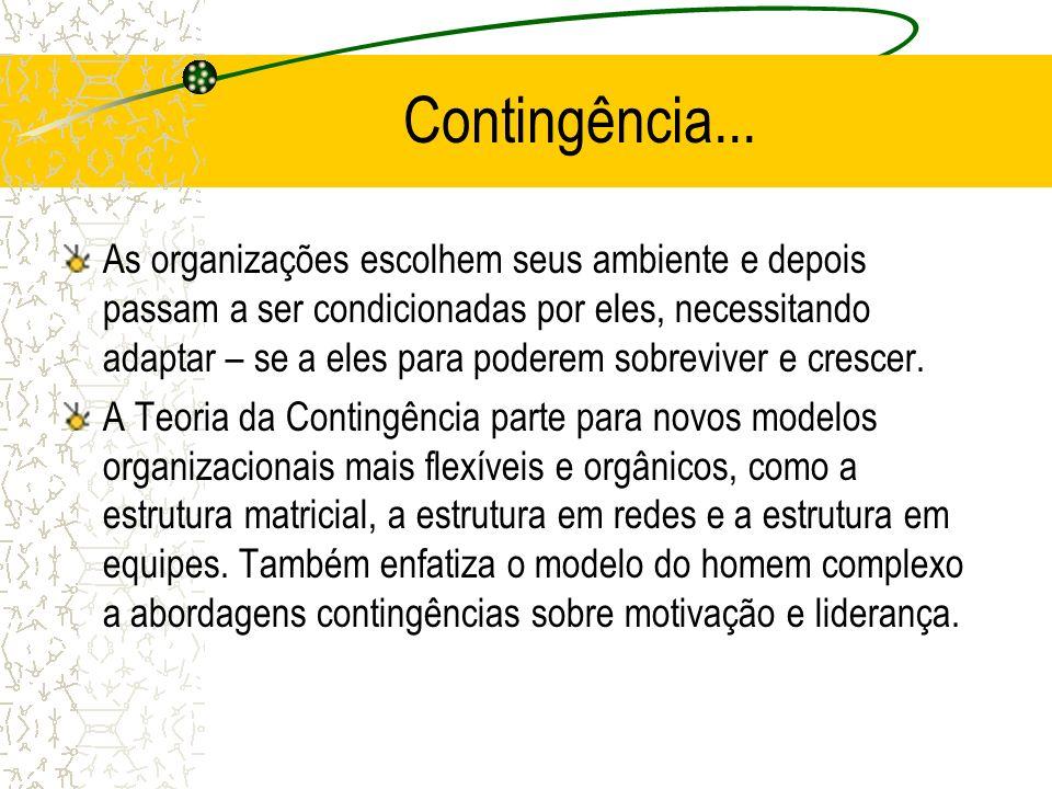 Contingência... As organizações escolhem seus ambiente e depois passam a ser condicionadas por eles, necessitando adaptar – se a eles para poderem sob