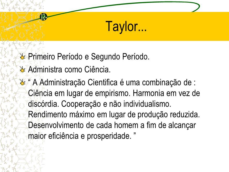 Taylor... Primeiro Período e Segundo Período. Administra como Ciência. A Administração Cientifica é uma combinação de : Ciência em lugar de empirismo.