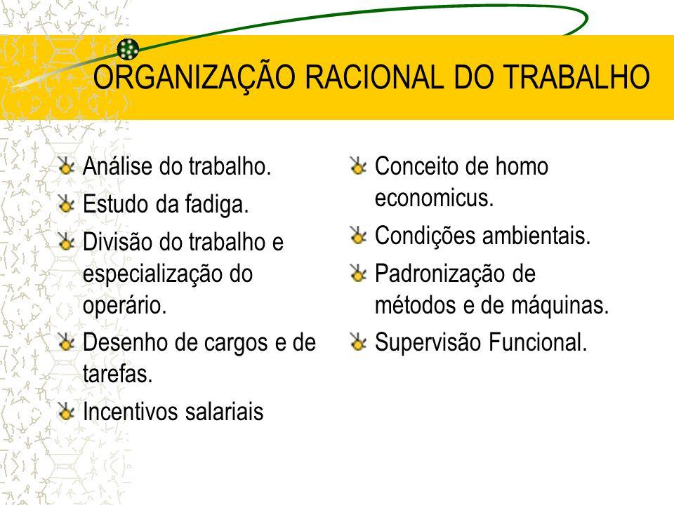 ORGANIZAÇÃO RACIONAL DO TRABALHO Análise do trabalho. Estudo da fadiga. Divisão do trabalho e especialização do operário. Desenho de cargos e de taref