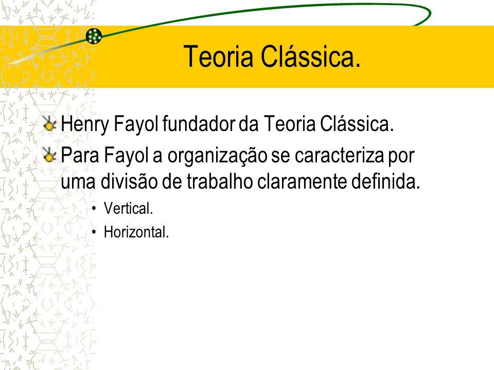 Teoria Clássica. Henry Fayol fundador da Teoria Clássica. Para Fayol a organização se caracteriza por uma divisão de trabalho claramente definida. Ver