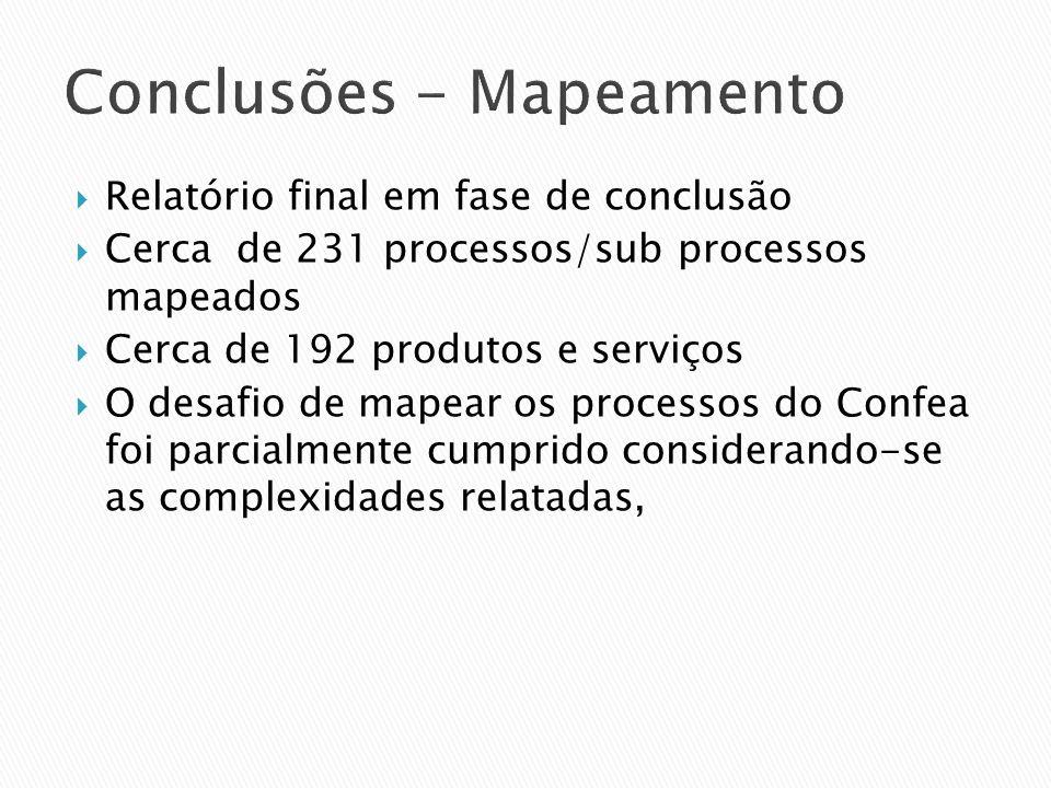 Conclusões - Mapeamento Relatório final em fase de conclusão Cerca de 231 processos/sub processos mapeados Cerca de 192 produtos e serviços O desafio