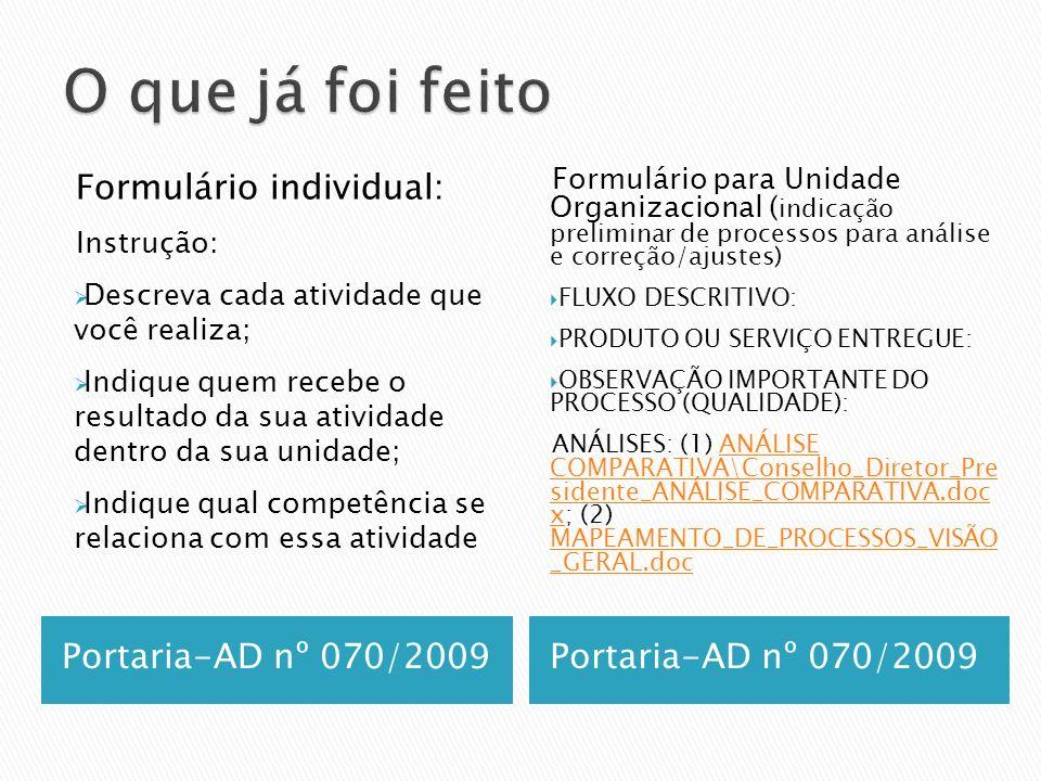 Portaria-AD nº 070/2009 Formulário individual: Instrução: Descreva cada atividade que você realiza; Indique quem recebe o resultado da sua atividade d