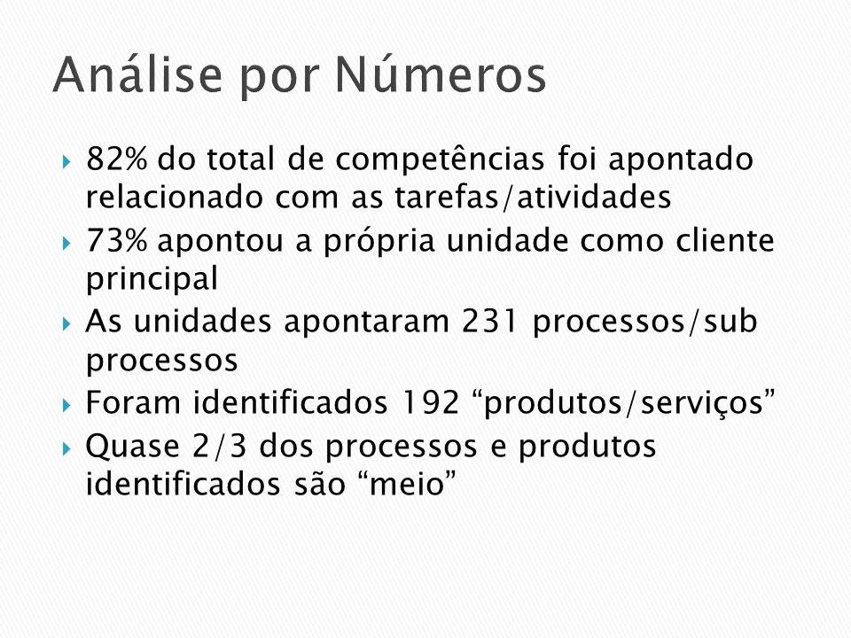 Análise por Números 82% do total de competências foi apontado relacionado com as tarefas/atividades 73% apontou a própria unidade como cliente princip