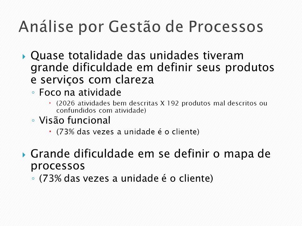 Análise por Gestão de Processos Quase totalidade das unidades tiveram grande dificuldade em definir seus produtos e serviços com clareza Foco na ativi
