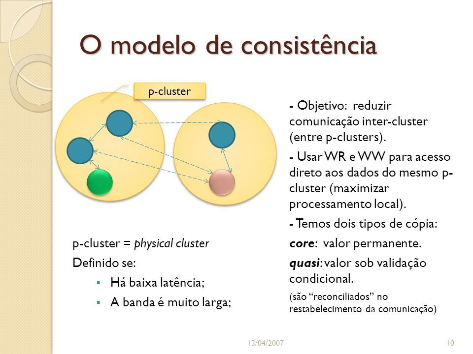 O modelo de consistência 13/04/200710 p-cluster p-cluster = physical cluster Definido se: Há baixa latência; A banda é muito larga; - Objetivo: reduzir comunicação inter-cluster (entre p-clusters).