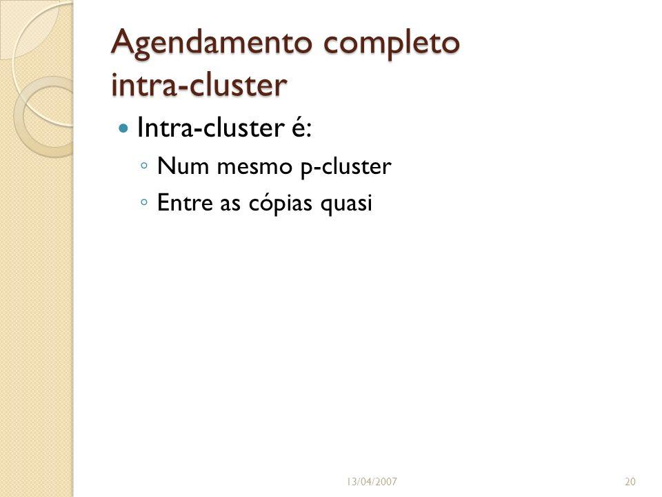 Agendamento completo intra-cluster 13/04/200720 Intra-cluster é: Num mesmo p-cluster Entre as cópias quasi