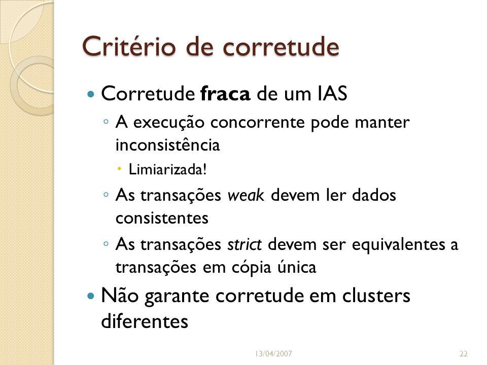 Critério de corretude 13/04/200722 Corretude fraca de um IAS A execução concorrente pode manter inconsistência Limiarizada! As transações weak devem l