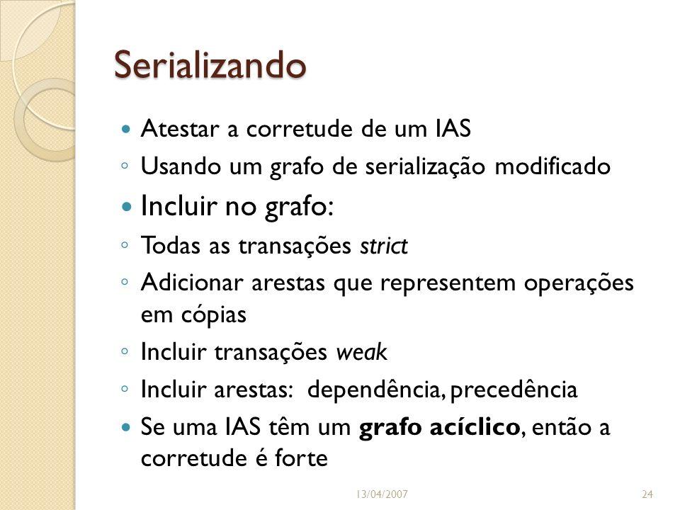 Serializando 13/04/200724 Atestar a corretude de um IAS Usando um grafo de serialização modificado Incluir no grafo: Todas as transações strict Adicio