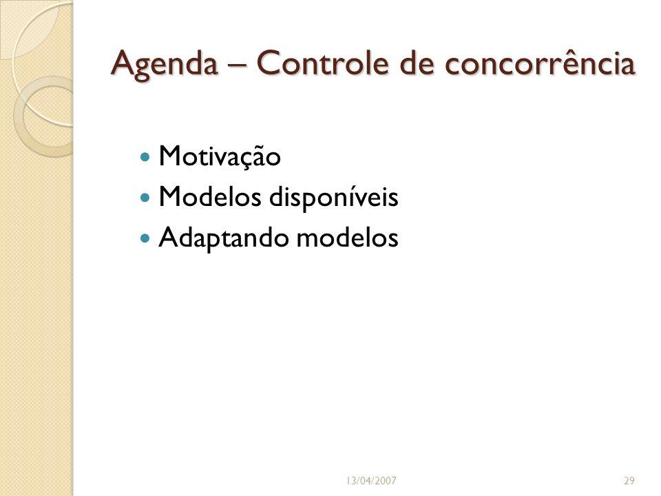 Agenda – Controle de concorrência Motivação Modelos disponíveis Adaptando modelos 13/04/200729