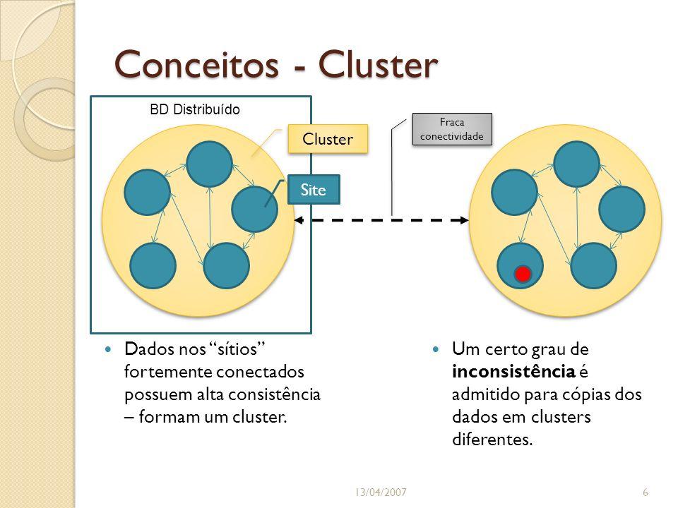 Conceitos - Cluster Dados nos sítios fortemente conectados possuem alta consistência – formam um cluster. 13/04/20076 Cluster Site Um certo grau de in