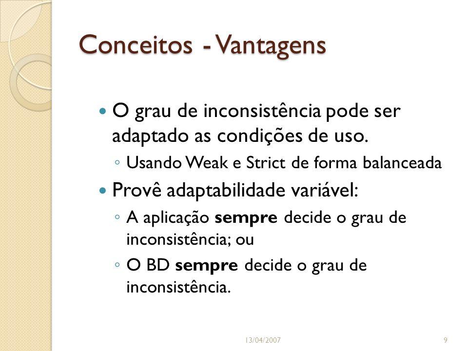 Conceitos - Vantagens O grau de inconsistência pode ser adaptado as condições de uso. Usando Weak e Strict de forma balanceada Provê adaptabilidade va